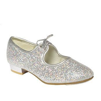 Tappers and Pointers Silver Hologram Glitter Low Heel Tap Shoes